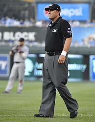 August 19, 2017 - Kansas City, MO, USA - First base umpire Brian Knight wears a white wrist band to draw attention to umpires' stance on perceived light punishments for altercations as the Kansas City play host to the Cleveland Indians at Kauffman Stadium in Kansas City, Mo., on Saturday, Aug. 19, 2017. (Credit Image: © John Sleezer/TNS via ZUMA Wire)