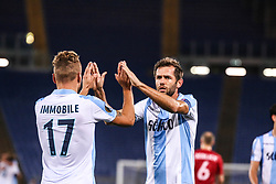 September 28, 2017 - Rome, Italy - ROME, ARNHEM - SEPTEMBER 28: Ciro Immobile of SS Lazio celebrates a second goal with his team mates during the UEFA Europa League group K match between SS Lazio and SV Zulte Waregem at Olimpico Stadium on September 28, 2017 in Rome, Italy  (Credit Image: © Cosimo Martemucci/Pacific Press via ZUMA Wire)