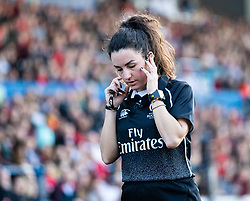 Referee Clara Munarini  talks to the TMO<br /> <br /> Photographer Simon King/Replay Images<br /> <br /> Six Nations Round 3 - Wales Women v England Women - Sunday 24th February 2019 - Cardiff Arms Park - Cardiff<br /> <br /> World Copyright © Replay Images . All rights reserved. info@replayimages.co.uk - http://replayimages.co.uk
