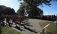Rugby Union - 2017 British & Irish Lions Tour of New Zealand - British & Irish Lions Visit To Waitangi<br /> <br /> A Maori warrior lays a challenge down for Head coach Warren Gatland of the Lions during the British & Irish Lions Maori Welcome at Waitangi Treaty Grounds  in Waitangi, New Zealand. <br /> <br /> COLORSPORT/LYNNE CAMERON