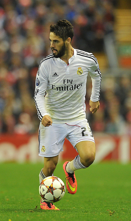 Real Madrid's Isco on the ball<br /> <br /> Photographer Dave Howarth/CameraSport<br /> <br /> Football - UEFA Champions League Group B - Liverpool v Real Madrid - Wednesday 22nd October 2014 - Anfield - Liverpool<br /> <br /> © CameraSport - 43 Linden Ave. Countesthorpe. Leicester. England. LE8 5PG - Tel: +44 (0) 116 277 4147 - admin@camerasport.com - www.camerasport.com