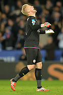 Kasper Schmeichel of Leicester city celebrates after  Islam Slimani  of Leicester city scores his teams 1st goal to make it 1-0 . Premier league match, Leicester City v Sunderland at the King Power Stadium in Leicester, Leicestershire on Tuesday 4th April 2017.<br /> pic by Bradley Collyer, Andrew Orchard sports photography.