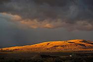 Stormy sunrise light in the hills near Susanville, Lassen County, California