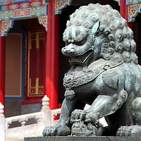 Asia, China, Beijing. Fu Dog statue at Forbidden Palace