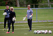 Goalkeeper coach Danny Robinson coaching keepers Erin Nayler and Rebecca Rolls. Football Ferns Media and Training Session, QBE Stadium Auckland, Wednesday 12th November 2014. Photo: Shane Wenzlick