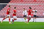 Mamadou Thiam of Barnsley (26) scores a goal and celebrates to make the score 2-0 during the EFL Sky Bet League 1 match between Barnsley and Charlton Athletic at Oakwell, Barnsley, England on 29 December 2018.