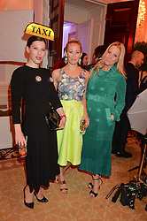 Left to right, LILY LEWIS, ELLIE SHEPHERD and ALICE NAYLOR-LEYLAND at the Tatler Best of British party in association with Jaegar held at The Ritz, Piccadilly, London on 28th April 2015.