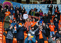 Blackpool fans celebrate their opening goal <br /> <br /> Photographer Alex Dodd/CameraSport<br /> <br /> The EFL Sky Bet League One Play-Off Semi-Final 2nd Leg - Blackpool v Oxford United - Friday 21st May 2021 - Bloomfield Road - Blackpool<br /> <br /> World Copyright © 2021 CameraSport. All rights reserved. 43 Linden Ave. Countesthorpe. Leicester. England. LE8 5PG - Tel: +44 (0) 116 277 4147 - admin@camerasport.com - www.camerasport.com