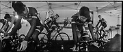 The french team warming up on rollers in their camp.