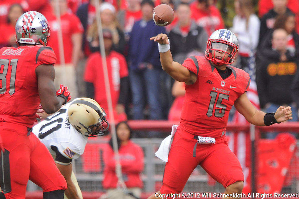 10 November 2012: Rutgers Scarlet Knights quarterback Gary Nova (15) dumps off a screen pass during NCAA college football action between the Rutgers Scarlet Knights and Army Black Knights at High Point Solutions Stadium in Piscataway, N.J..
