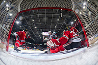 KELOWNA, BC - FEBRUARY 7: Jonas Brøndberg #27 of the Kelowna Rockets takes a shot on the net of Joel Hofer #30 of the Portland Winterhawks and scores a goal at Prospera Place on February 7, 2020 in Kelowna, Canada. Hofer was selected in the 2018 NHL entry draft by the St. Louis Blues. (Photo by Marissa Baecker/Shoot the Breeze)
