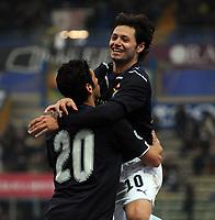 """Esultanza di Mauro Zarate (gol 0-2).<br /> Parma, 14/02/2010 Stadio """"Tardini""""<br /> Parma-Lazio.<br /> Campionato Italiano Serie A 2009/2010<br /> Foto Nicolò Zangirolami Insidefoto"""