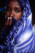 A Muslim Ethiopian child in a hijab in the village of Madaweyn near the Somalian border, Ethiopia.