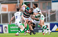 Rugby Union - 2020 / 2021 ER Challenge Cup - Quarter-Final - Leicester Tigers  vs Newcastle Falcons - Welford Road<br /> <br /> Jasper Wiese of Leicester Tigers is tackled by Michael Young of Newcastle Falcons<br /> <br /> Credit : COLORSPORT/BRUCE WHITE
