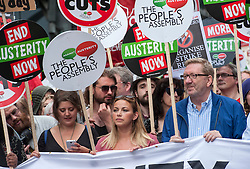 © Licensed to London News Pictures. 20/06/2015. London, UK.  CHARLOTTE CHURCH and leader of Unite the Union LEN MCCLUSKY at The March against Austerity, organised by the People's Assembly, against Government cuts to public spending and public services.  Photo credit : Simon Chapman/LNP