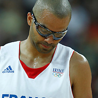 08 August 2012: France Tony Parker looks dejected during 66-59 Team Spain victory over Team France, during the men's basketball quarter-finals, at the 02 Arena, in London, Great Britain.