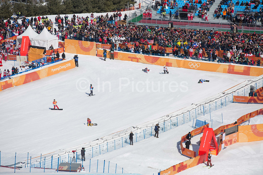 The womens boardercross semi finals during the Pyeongchang Winter Olympics on 16th February 2018 at Phoenix Snow Park in South Korea