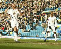 Photo: Aidan Ellis.<br /> Leeds United v Luton Town. Coca Cola Championship. 10/03/2007.<br /> Leeds Matt Heath holdshis head after missing a chance to score