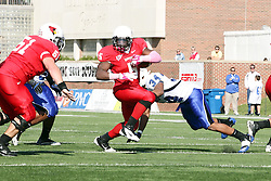 22 October 2011: Jacolby Washington flies at but behind Ashton Leggett during an NCAA football game  the Indiana State Sycamores lost to the Illinois State Redbirds (ISU) 17-14 at Hancock Stadium in Normal Illinois.