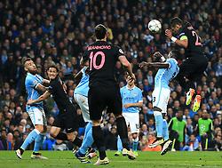 Thiago Silva of Paris Saint-Germain fires a header at goal  - Mandatory byline: Matt McNulty/JMP - 07966386802 - 12/04/2016 - FOOTBALL - Etihad Stadium -Manchester,England - Manchester City v Paris Saint-Germain - UEFA Champions League - Quarter Final Second Leg