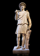 Statue known as Antonius as Aristaeus. Antinous was the young Bithynian favoured by the emperor Hadrian who was deified after drowning under mysterious circumstances in the waters of the Nile circa 130AD. Thanks to the promotion of the cult Antinous portraits can be found throughout the Empire in the places most frequented by Hadrian. This statue was part of the collection of ancient sculptors bought in Rome by Cardinal Richelieu (1585-1642) for his chateau in Poitou. The favourite of the Emperor Hadrian (117-138 AD) Antonius  is depicted here as Aristaeus, a minor Greek God of fruit trees and bee keeping. The Richelieu Collection, Inv No. MR 73 or Ma 5781, Louvre Museum, Paris. .<br /> <br /> If you prefer to buy from our ALAMY STOCK LIBRARY page at https://www.alamy.com/portfolio/paul-williams-funkystock/greco-roman-sculptures.html- Type -    Louvre    - into LOWER SEARCH WITHIN GALLERY box - Refine search by adding a subject, place, background colour,etc.<br /> <br /> Visit our CLASSICAL WORLD HISTORIC SITES PHOTO COLLECTIONS for more photos to download or buy as wall art prints https://funkystock.photoshelter.com/gallery-collection/The-Romans-Art-Artefacts-Antiquities-Historic-Sites-Pictures-Images/C0000r2uLJJo9_s0c