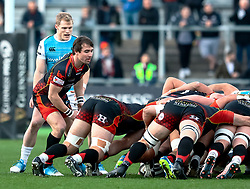 Rhodri Williams of Dragons puts in to the scrum<br /> <br /> Photographer Simon King/Replay Images<br /> <br /> Guinness PRO14 Round 12 - Dragons v Ospreys - Sunday 30th December 2018 - Rodney Parade - Newport<br /> <br /> World Copyright © Replay Images . All rights reserved. info@replayimages.co.uk - http://replayimages.co.uk