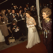 the Queen and First Lady arrive at the 20th Centruy Fox Dinnerduring Queen Elizabeth II visit to California in March 1983...Photograph by Dennis Brack b23