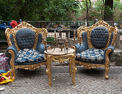 Second hand furniture for sale at weekend market at Boxhagener Square in Friedrichshain district of Berlin Germany