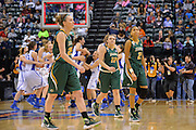 April 4, 2016; Indianapolis, Ind.; A trio of UAA seniors walks off the court after losing 78-73 to Lubbock Christian in the NCAA Division II Women's Basketball National Championship game at Bankers Life Fieldhouse.