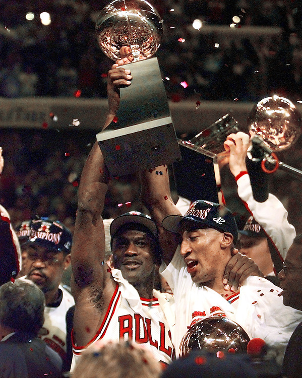 1997 Chicago Bulls Championship -- Chicago's Michael Jordan, left, and Scottie Pippen  celebrate a fifth  Bulls championship together after defeating the Utah Jazz Friday night at the United Center.