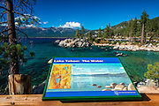 Interpretive sign at Sand Harbor State Park, Lake Tahoe, Nevada, USA
