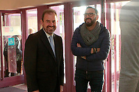 Getafe CF's President Angel Torres (l) and the coach Jose Bordalas during the Christmas visit to the Children's Hospital of the city. December 12,2017. (ALTERPHOTOS/Acero)