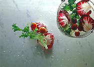 Top Shot of salad in a salad basket and salad in water