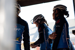 Veloconcept Women's Team wait to be called from backstage at Women's Gent Wevelgem 2017. A 145 km road race on March 26th 2017, from Boezinge to Wevelgem, Belgium. (Photo by Sean Robinson/Velofocus)