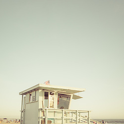 Santa Monica beach lifeguard tower sixteen in Southern California in the United States of America. Copyright ⓒ 2017 Paul Velgos with All Rights Reserved.
