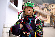 Portrait of Hmong woman wearing traditional outfit, Sapa, Vietnam, Southeast Asia