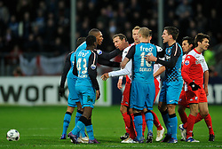 22-01-2012 VOETBAL: FC UTRECHT - PSV: UTRECHT<br /> Utrecht speelt gelijk tegen PSV 1-1 / Opstootje met (L-R) Marcelo, Jetro Willems, Zakaria Labyad, Alexander Gerndt, Kevin Strootman, Edouard Duplan<br /> ©2012-FotoHoogendoorn.nl