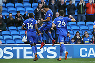 Nathaniel Mendez- Laing of Cardiff city © celebrates after he scores his teams 1st goal.  EFL Skybet championship match, Cardiff city v Birmingham City at the Cardiff city stadium in Cardiff, South Wales on Saturday 10th March 2018.<br /> pic by Andrew Orchard, Andrew Orchard sports photography.