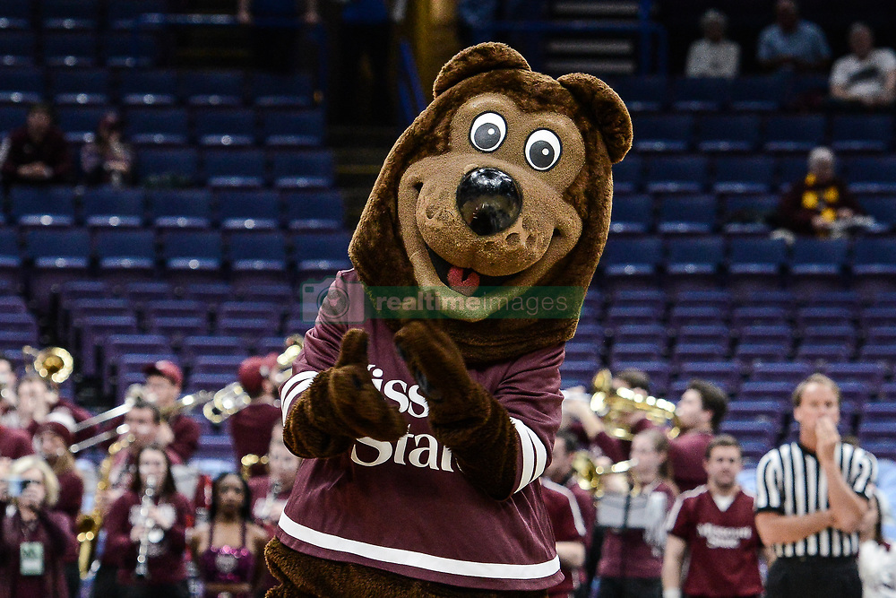 February 28, 2018 - St. Louis, Missouri, U.S - Boomer the Missouri State mascot during the second round of the Arch Madness, Missouri Valley Conference Men's Tournament where Southern Illinois defeats Missouri State by the score of 67-63 on Friday March 2, 2018, held at The Scottrade Center in St. Louis, MO (Photo credit Richard Ulreich / ZUMA Press) (Credit Image: © Richard Ulreich via ZUMA Wire)