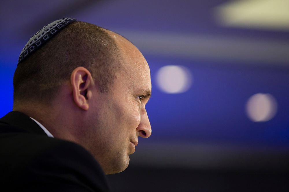 Israel's Minister of the Economy Naftali Bennett attends the Conference Of Presidents of Major American Jewish Organizations in Jerusalem, Israel, on February 17, 2014.