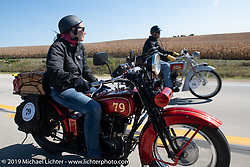 Land-speed record holder Jody Perewitz rode a 1926 Harley-Davidson JD she painted herself (no retro paint job here) on the Motorcycle Cannonball coast to coast vintage run. Stage 6 (260 miles) from Bourbonnais, IL to Cedar Rapids, IA. Thursday September 13, 2018. Photography ©2018 Michael Lichter.