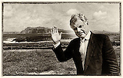 Teddy waves goodbye from Dingle.....Senator Ted Kennedy  waves goodbye to Dingle in 1989 after spending a weeks holiday in the area. He is pictured overlloking Clogher Strand on Slea Head in County Kerry.  Senator Kennedy loved Kerry and stayed with family firends oftne attending the Dingle Races, Dingle regatta and enjoying a pint in Krugers Pub. He took his new girlfriend (now his wife Victoria) on their first foreign holiday to Dingle in 1989. They married three years later in 1992..Picture by Don MacMonagle