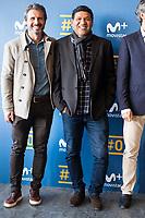 "Rafael Alkorta and Donato during the presentation of the new tv program #0 of Movistar+ ""Caos FC"" at Ciudad del Futbol of Las Rozas in Madrid. November 21, Spain. 2016. (ALTERPHOTOS/BorjaB.Hojas)"