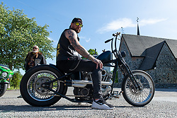 Jim Jansson on a Twin Club ride out from the club house in Norrtälje after their annual Custom Bike Show. Sweden. Sunday, June 2, 2019. Photography ©2019 Michael Lichter.