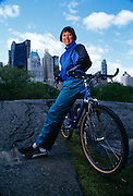 Mary Meeker on her bike in Central Park.  During the beginning of the internet era she was Morgan Stanley's top analyst.