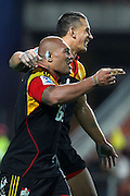 Chiefs' Arizona Taumalolo celebrates his try with Sonny Bill Williams. Super Rugby rugby union match, Chiefs v Hurricanes at Waikato Stadium, Hamilton, New Zealand. Saturday 28th April 2012. Photo: Anthony Au-Yeung / photosport.co.nz