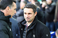 Aston Villa Manager Remi Garde looks on prior to kick off. Barclays Premier League match, Everton v Aston Villa at Goodison Park in Liverpool on Saturday 21st November 2015.<br /> pic by Chris Stading, Andrew Orchard sports photography.