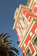 Low angle view of Hotel Palacio Astoreca in Valparaiso, Chile