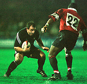 Gloucester, Gloucestershire, UK., 23rd December 2000,  Kingsholm Stadium, Zurich Premiership Rugby, Gloucester Rugby vs Newcastle Falcon, <br /> <br /> One of the Newcastle subs, faces Gloucester's Steve Ojomoh<br /> [Mandatory Credit: Peter Spurrier/Intersport Images],