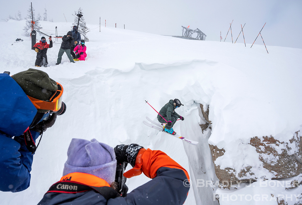 Sophia Rouches hucks into Corbet's Couloir on Thursday during the Kings and Queens of Corbet's event at Jackson Hole Mountain Resort. Twenty-six skiers and snowboarders participated in the 2021 event, which will be broadcast free on Red Bull TV starting at 1 p.m. Monday. Winners will be announced then.